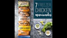 7 chicken marinade recipes you can freeze. This post shows you exactly how to marinate chicken breasts to get the BEST flavor, and how to freeze them for easy convenient dinners. Video and printable included.