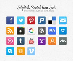 Stylish Social Icon Set for Free    Always looking for new social icons as it is nice to present them differently for different sites.  Ultimately you cant beat a custom icon but not everyone wants that either.    These look OK not amazing just OK.