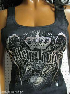 HARLEY DAVIDSON Black/Gray Dyed Foil Crown Wings TANK TOP