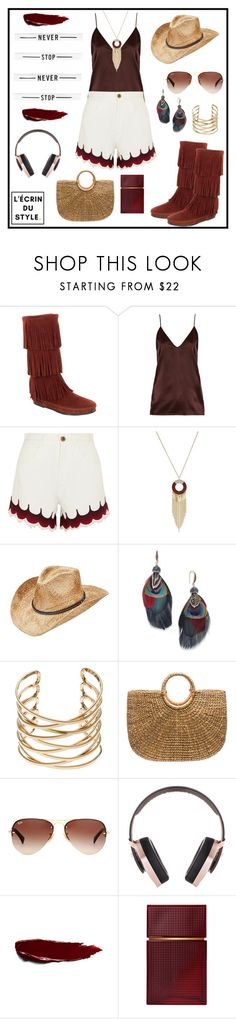 """Never Stop the music...."" by lecrindustyle ❤ liked on Polyvore featuring Minnetonka, Raey, Chloé, Thalia Sodi, Scala, Paul & Pitü Naturally, JADEtribe, Ray-Ban, Pryma and Elizabeth and James"