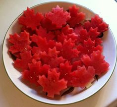 Simple Canada Day Treat Watermelon Maple Leafs via Pickle Planet Moncton Canada For Kids, Canada Day 150, Happy Canada Day, Canada Canada, Holiday Treats, Holiday Recipes, Canada Celebrations, Maple Leaf Cookies, Canada Day Crafts