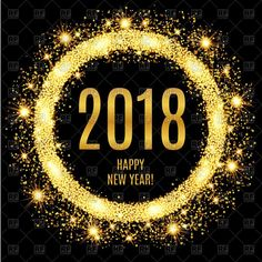 Vector image of 2018 Happy New Year glowing gold background #153352 includes gra
