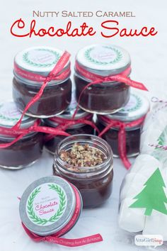 Easy Nutty Salted Caramel Chocolate Sauce   Atta Girl Says #TasteTheSeason #ad #cbias