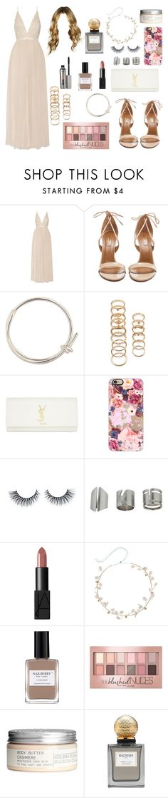 """""""Summer Outfit #14"""" by one-direction-outfits-of-the-day ❤ liked on Polyvore featuring Needle & Thread, Aquazzura, Balenciaga, Forever 21, Yves Saint Laurent, Casetify, Topshop, NARS Cosmetics, Nailberry and Maybelline"""