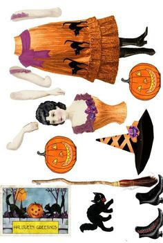 witch to print and assemble for halloween - Top Paper Crafts Retro Halloween, Halloween Images, Holidays Halloween, Halloween Crafts, Happy Halloween, Halloween Decorations, Halloween Costumes, Halloween Stuff, Halloween Makeup