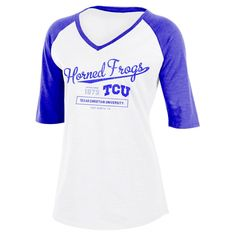 NCAA Tcu Horned Frogs Women's Fashion V-Neck Raglan T-Shirt - L, Multicolored