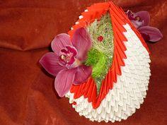 košíček s orchideí - origami