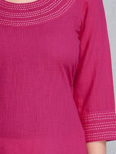 Fuschia Kantha Embroidered Cotton Kurta by Jaipur Pitara Salwar Neck Designs, Churidar Designs, Neck Designs For Suits, Kurta Neck Design, Neckline Designs, Dress Neck Designs, Kurta Designs Women, Stylish Dress Designs, Designs For Dresses