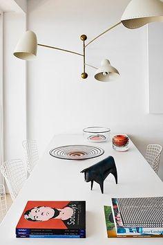 Cream and Brass Chandelier   Mid Century Style