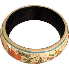 Hand Painted Flowers and Silver Splash Wood Bangle circa 1940