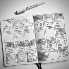 (Swipe to see in color) Last week's spread all filled in. I really loved having so much information in one spread. I'll definitely be doing more spreads like this. - #bulletjournal #bujo #bujoweekly #planner #planneraddict #bujocommunity #bujoinspire
