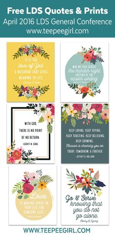 Free Quote Printables from the April 2016 General Conference. Print these off today to use for lessons, handouts, visiting teaching, or just to hang up and remember the great messages of conference.