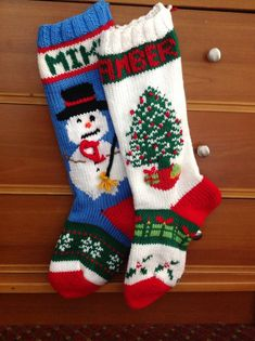 Knitted Christmas Stockings with Snowman or Christmas Tree by MamaJeanStockings on Etsy