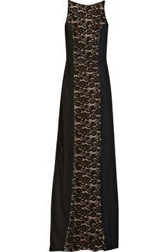 Nina Ricci | Charmeuse et dentelle robe de crêpe lambrissé