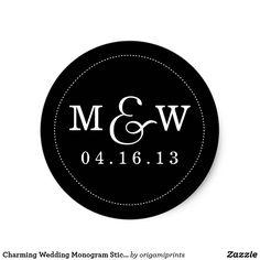 Charming Wedding Monogram Sticker - Black & White