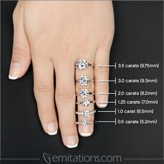 Great to see exactly how big engagement ring sizes are on the average finger! #carat sizes #diamond sizing #ring sizes