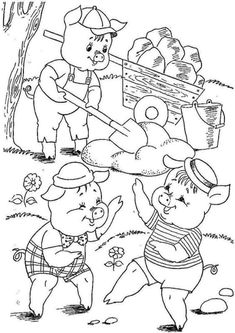Farm Coloring Pages, Coloring Pages For Boys, Free Printable Coloring Pages, Coloring Books, Three Little Pigs Story, Paper Flowers For Kids, Happy New Year Photo, Pig Crafts, Kindergarten Crafts