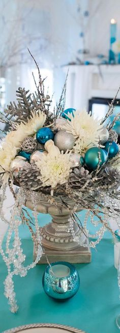 Hanukkah Decorations – Hanukkah Decorations Ideas - My CMS Teal Christmas Decorations, Silver Christmas Decorations, Hanukkah Decorations, Christmas Centerpieces, Christmas Colors, Christmas Themes, Christmas Crafts, Christmas Thoughts, Coastal Christmas