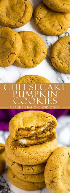 Cheesecake Stuffed Pumpkin Cookies - Deliciously soft and chewy pumpkin cookies that are perfectly spiced, and stuffed with a cheesecake layer! | marshasbakingaddiction.com | @marshasbakeblog