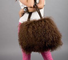 Large Real Long Lamb Fur/Mongolian Fur Bag Handbag On Sale(Multi Colors)