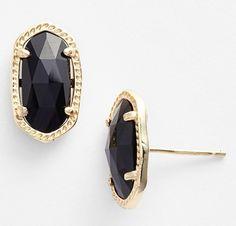 f3fa81107 NEW Kendra Scott 'Ellie' Small Oval Stud Earrings, Black, Gold, 4217711849.  Tradesy