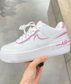 Shop Women's Nike Pink White size Various Sneakers at a discounted price at Poshmark. Description: Nike rare air force 1 shadow sneakers New with box. Shoes Adidas, Cute Nike Shoes, Cute Sneakers, Shoes Sneakers, Girls Sneakers, Women's Shoes, Nike Shoes Air Force, Nike Air Force Ones, Nike Air Force 1 Outfit