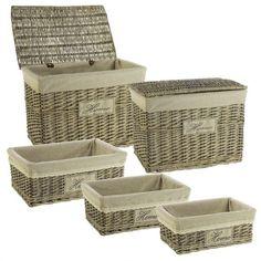 Set 2 baúles de mimbre y 3 cestas