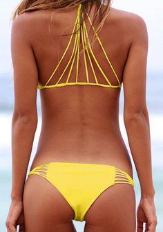 caged yellow bikini