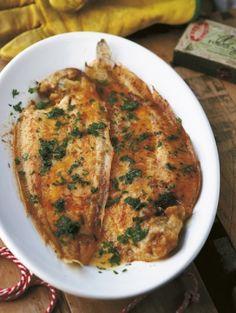 Recept Gebakken tong met citroen-knoflookboter   ELLE Eten