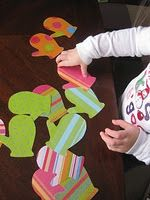 Toddler Activity - Mitten match made from scrapbook paper