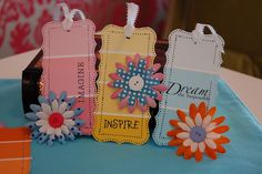 paint chip bookmarks- Write inspirational messages and give your sisters a little bit of joy every time they crack a book.