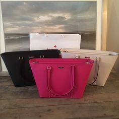 """Kate Spade Dally Newbury Lane totes!! This a beautiful large purse/tote! I have 3 colors- Pebble which is a great cream color, Swthrpink which is a bright pink and black. The inside satin linings are shown in pics. The zipper, name plate and any hardware is 24kt gold. The measurements are 11.4""""h x 13""""(B)-19"""" (T) x 6.8"""" d. The drops is 9"""".  It can carry a small laptop which allows this purse to the used for many purposes. Retail Price $348. kate spade Bags Totes"""