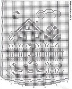 Cortina de crochê filé Filet Crochet, Crochet Lace, Bead Loom Patterns, Cross Stitch Patterns, Crochet Patterns, Crochet Birds, Crochet Curtains, Crochet Potholders, Chrochet