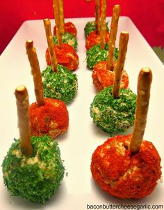 Mini Cheeseballs...these are fun and so darn tasty!  And they look like Christmas!