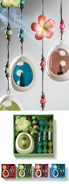 Hanging flower ceramic incense holder gift box from stores.ebay.co.uk/flutterbybazaar