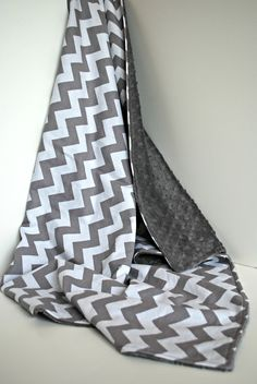 Minky Baby Blanket Grey Chevron Pattern Grey Minky Dot Grey and White. @Amy Bennett