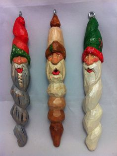 "6""Santa hand carved basswood Christmas ornaments. Acrylic wash paint. By mitch estep"