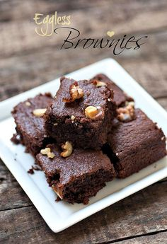 Eggless Brownies - Eggless Chocolate Brownie Recipe