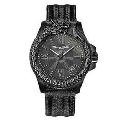 1e5de47864d0 Thomas Sabo Rebel Icon Black Stainless Steel Men s Watch w Lizard Embossed  Leather Strap