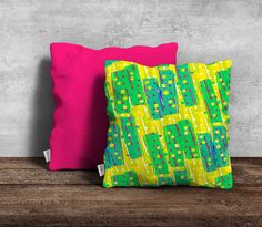 Cushion cover, x Modern, bold and eye catching design is featured on one side only and the back is made of a plain linen in a matching colour or white. Bright Colours, Textile Design, Designers, Cushions, Pottery, Textiles, Throw Pillows, Ceramics, Cover