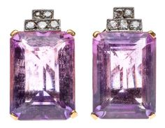 A PAIR OF ART DECO STYLE 14 KARAT GOLD, AMETHYST, AND DIAMOND EARRINGS The 14K gold earrings each having one central step-cut amethyst weighing approximately 13.06 carats and 12.39 carats, with an approximate combined total weight of 25.45 carats, set above with five single-cut diamonds, the 10 comprising an approximate combined total weight of 0.37 carats, with a post-and-omega closure to the reverse. Approximate total weight overall 14.7 grams.