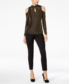 Thalia Sodi Metallic Cutout Cold-Shoulder Top, Created for Macy's - Black XXL
