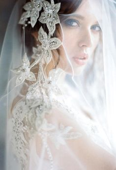 bridal photography poses Unique wedding veil with hand embroidery. A model for a sophisticated bride. It will be the decoration of an expensive dress. Soft Bridal veil of ligh Bridal Portrait Poses, Bridal Poses, Bridal Photoshoot, Bride Portrait, Bridal Session, Bridal Shoot, Wedding Shoot, Wedding Bride, 1920s Wedding