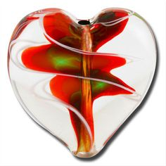 Love this heart-shaped lampwork bead. Gimme!