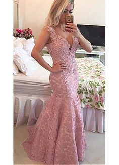 Elegant Lace V-Neck Mermaid Evening Dresses With Beaded Lace Appliques