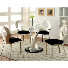 e2b05b410b6 Furniture of America Sculpture III Contemporary 5-Piece Round Dining Set Glass  Round Dining Table