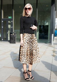 Pin for Later: The Best of Paris Fashion Week Street Style (Updated!) LFW Street Style Day 3 Jane Keltner de Valle pared down a notice-me leopard-print skirt with a black knit. Fashion Moda, Look Fashion, Autumn Fashion, Milan Fashion, Trendy Fashion, Street Fashion, London Fashion Bloggers, London Fashion Weeks, Knit Fashion