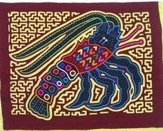 Lobster Mola made by Kuna (Cuna) Indian people of Panama's San Blas Islands.