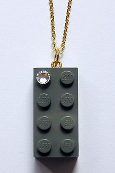 Gray LEGO R brick 2x4 with a Diamond color by MademoiselleAlma, $14.99 #LEGO  Creative LEGO jewelry