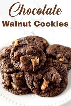 These chocolate walnut cookies are incredible! Better yet, the recipe is easy one bowl. Dairy Free Recipes Easy, Walnut Cookies, Kosher Recipes, Chocolate Flavors, Vegetarian Chocolate, Free Food, Tasty, Desserts, Deserts